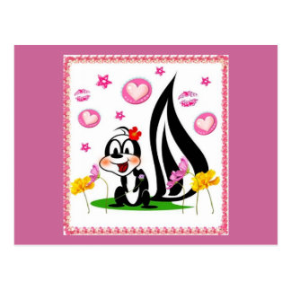 skunk and hearts postcard