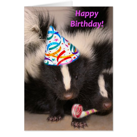 Skunk birthday card – Ferret Birthday Card