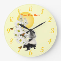 Skunk, Butterfly and Daisy Round Wall Clock #2