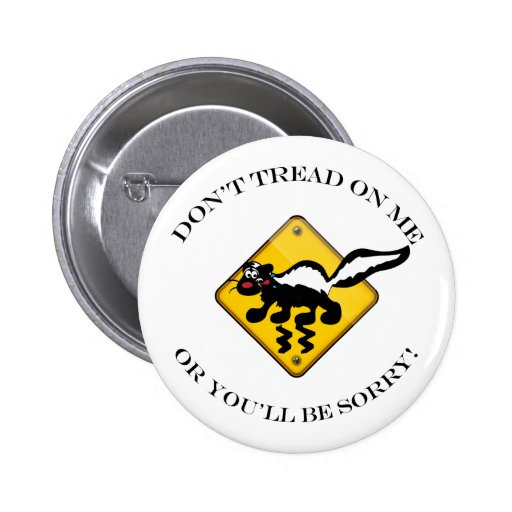 Skunk Crossing Sign 2 Inch Round Button