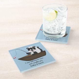 Skunk Fishing in Boat Glass Coaster