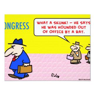 "skunk hounded rat congress 4.25"" x 5.5"" invitation card"