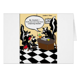 Skunk Learning Disodors Funny Gifts & Tees Greeting Card