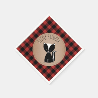 Skunk Lumberjack Plaid Baby Shower Napkins