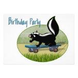 Skunk on a Skateboard  Birthday Invitation