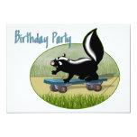 "Skunk on a Skateboard  Birthday Invitation 5"" X 7"" Invitation Card"