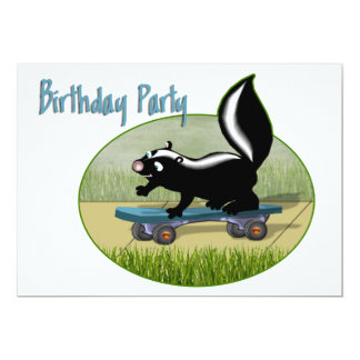 Skunk on a Skateboard  Birthday Invitation