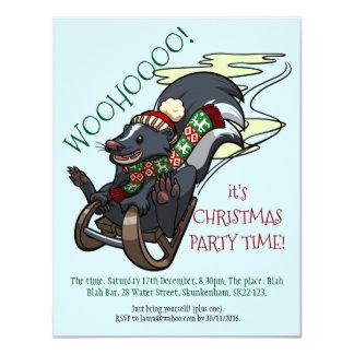 Skunk On A Sled Smelly Christmas Party Cartoon Card