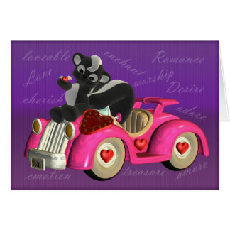 Skunk on little pink car, Cute little Skunk with f Card