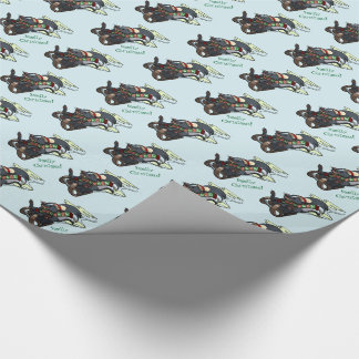 Skunk On Sled Smelly Christmas Sledging Cartoon Wrapping Paper