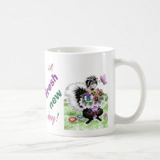 Skunk with Pansies Coffee Mug
