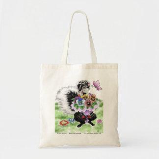 Skunk with pansies tote bag