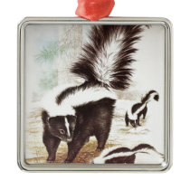 Skunks In The Snow Metal Ornament