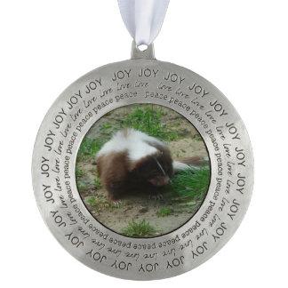 Skunks Round Pewter Ornament