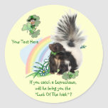 """Skunks, Leprechauns and the """"Luck Of The Irish"""" Classic Round Sticker"""