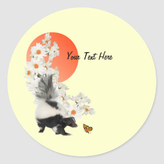 Skunks Need Time To Smell Flowers Too! Classic Round Sticker