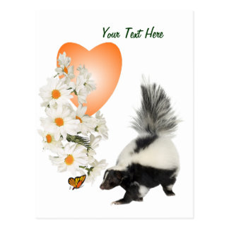 Skunks Need Time To Smell Flowers Too Orange Heart Postcard