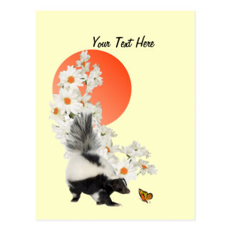 Skunks Need Time To Smell Flowers Too! Postcard
