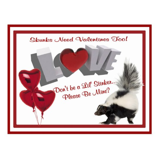 Skunks need Valentines too Don't Be a Lil' Stinker Postcard