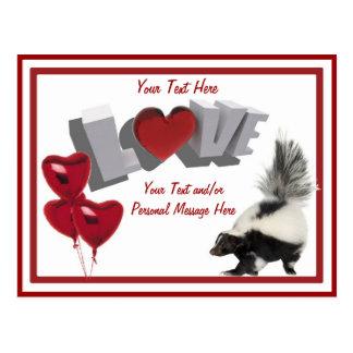Skunks need Valentines too! Postcard