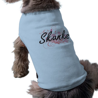 Skunks with flowers background dog t shirt