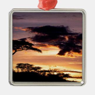 Sky A Beginning Tanzania Africa Square Metal Christmas Ornament