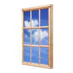 Sky and Clouds 3D Effect Window View Picture Gallery Wrapped Canvas
