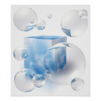 sky and clouds reflecting in the air bubbles posters