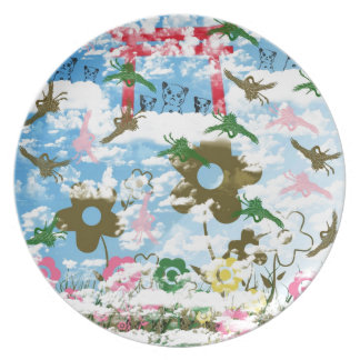 Sky and crane and invitation cat dinner plate