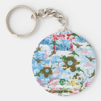 Sky and crane and invitation cat keychains