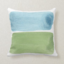 Sky and Grass Watercolor Brushstroke Painting Throw Pillow