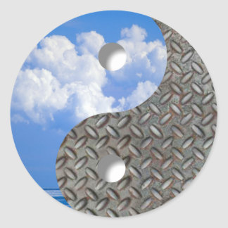 sky and metal classic round sticker