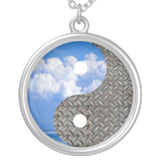 sky and metal silver plated necklace