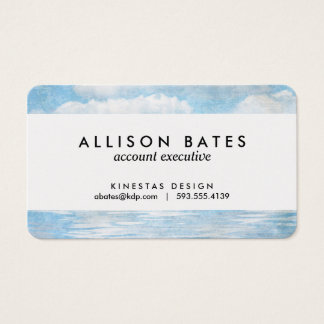 Sky and Ocean Blue White Clouds Watercolor Painted Business Card