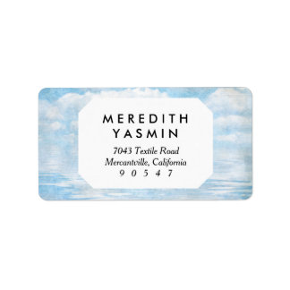 Sky and Ocean Blue White Clouds Watercolor Painted Label