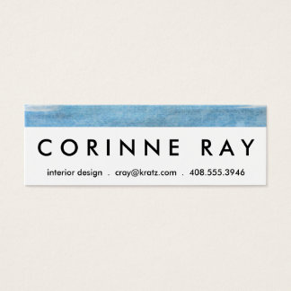 Sky and Ocean Blue White Clouds Watercolor Painted Mini Business Card