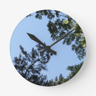 Sky and Tree Tops. Round Wall Clock