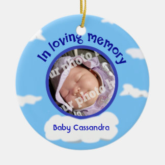 Sky Baby Custom Photo Personalized Memorial Double-Sided Ceramic Round Christmas Ornament