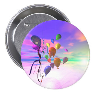 Sky Birthday Balloons Pinback Button