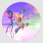 Sky Birthday Balloons Round Sticker