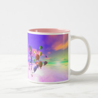 Sky Birthday Balloons Two-Tone Coffee Mug