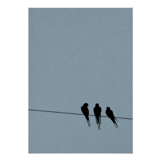 Sky Blackbirds Silhouette on Wire Poster