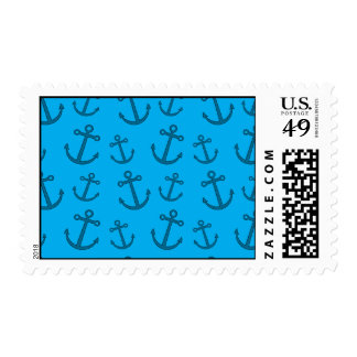 Sky blue anchor pattern postage stamps