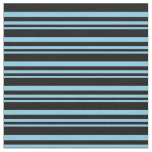 [ Thumbnail: Sky Blue and Black Colored Lined/Striped Pattern Fabric ]