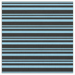 [ Thumbnail: Sky Blue and Black Colored Lines Fabric ]