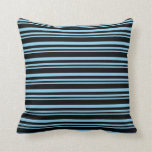 [ Thumbnail: Sky Blue and Black Colored Lines Throw Pillow ]