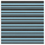 [ Thumbnail: Sky Blue and Black Colored Striped Pattern Fabric ]