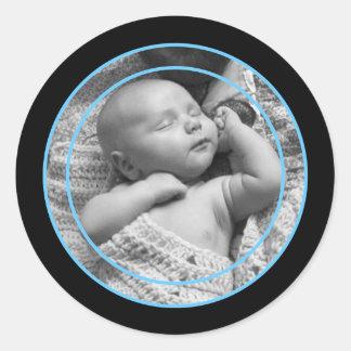 Sky Blue and Black Photo Frame Classic Round Sticker
