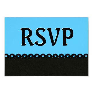 Sky Blue and Black RSVP Hearts Scalloped Lace V05 Card