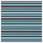 [ Thumbnail: Sky Blue and Black Striped/Lined Pattern Fabric ]